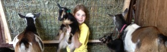 Girl with Nigerian Dwarf goats at Cabochon Farm in Minnesota